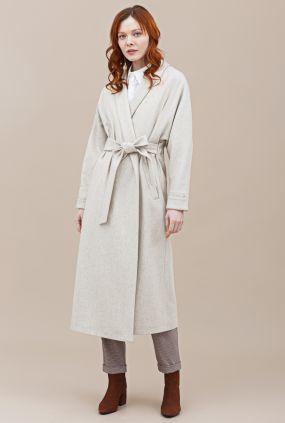 Пальто-халат Черешня с кулиской на спине из сукна кремовое (42-46)