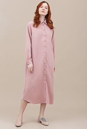 Платье-рубашка Черешня однотонное розовое (42-46)