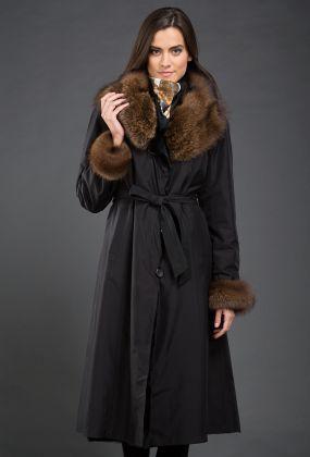 Зимнее женское пальто на кроличьей подстежке Garioldi с мехом куницы
