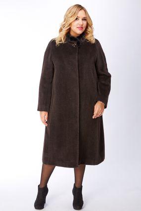 Длинное женское пальто оверсайз из альпака