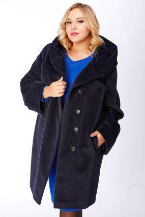 Пальто с капюшоном из альпака на большой размер