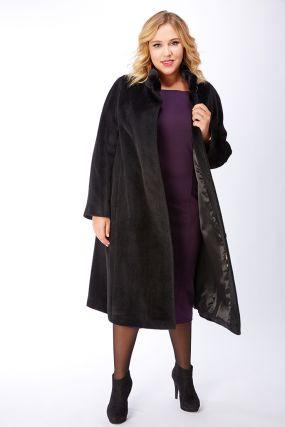 Женское пальто из альпака большого размера с воротом-стойкой