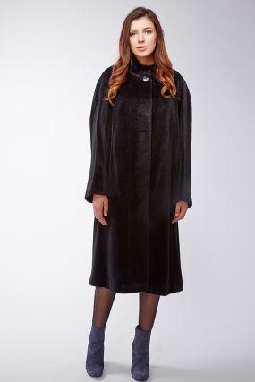 Длинное женское пальто из сури альпака на большой размер