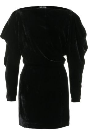 Бархатное мини-платье с вырезом-лодочка Tom Ford
