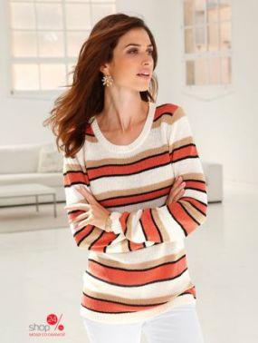 Пуловер Paola Klingel, цвет бежевый, коралловый, белый, полоска