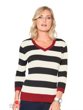 Пуловер Mona Klingel, цвет темно-синий, белый, красный, полоска