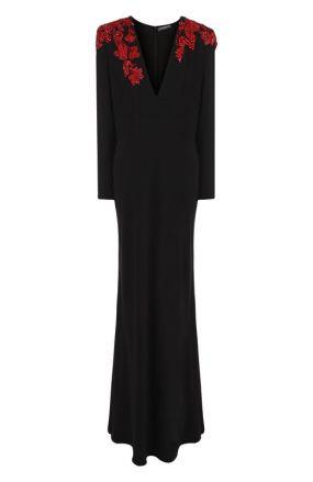 Однотонное платье-макси с V-образным вырезом и декорированной отделкой Alexander McQueen
