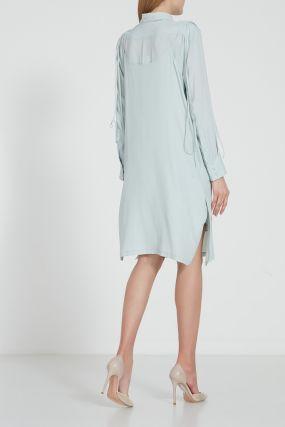 Двухслойное голубое платье