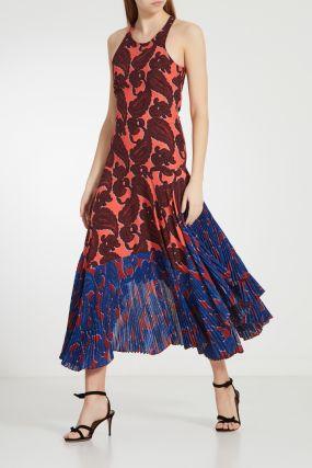Шелковое платье с комбинированным принтом