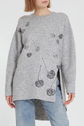 Меланжевый свитер со стразами