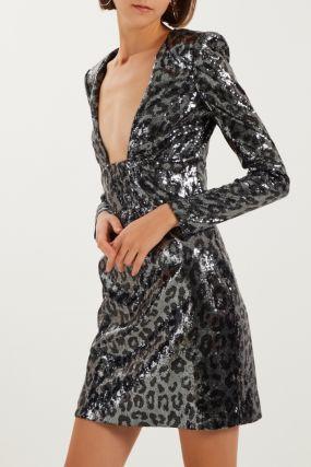 Леопардовое платье с пайетками