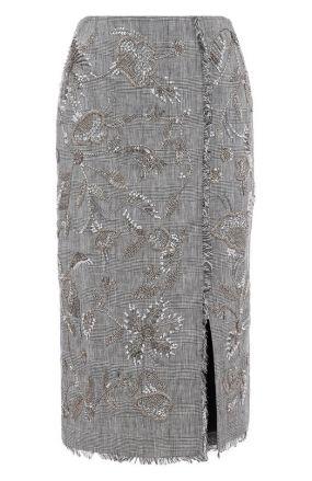 Льняная юбка в клетку с декоративной отделкой Erdem
