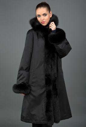 Длинное зимнее пальто на меху большого размера