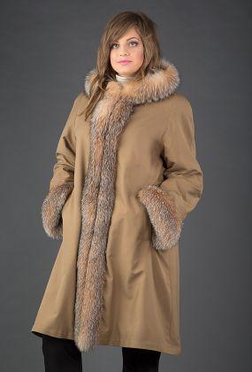 Длинное женское зимнее пальто на меху на большой размер