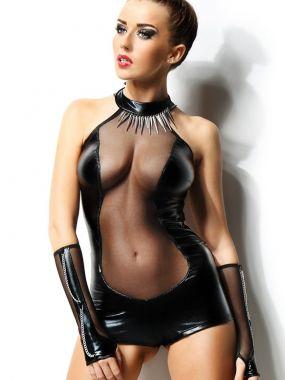 Глянцевый черный комплект из сексуального боди и перчаток Demoniq Isabelle – S/M