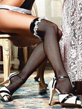 Чулки Private French Maid высокие в мелкую сетку – черные
