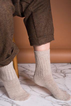 Носки BENE SOX шерстяные с высокой резинкой бежевые (35-42)