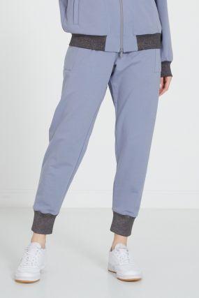 Голубые брюки с контрастной отделкой