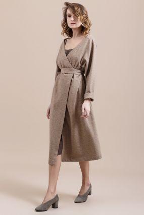 Платье-кардиган Черешня шерстяное с открытыми плечами на запахе бежевое (38-42)