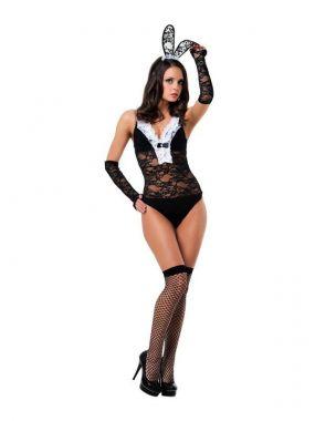Игровой костюм Le Frivole Эротичная Зайка – черный с белым, M/L