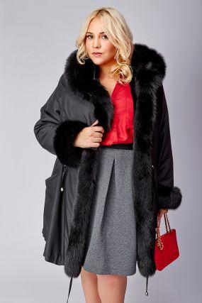 Зимнее женское пальто большого размера с песцом