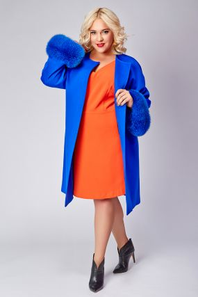 Женское пальто большого размера с мехом