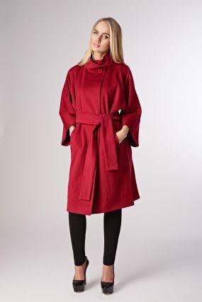 Прямое пальто средней длины из шерсти