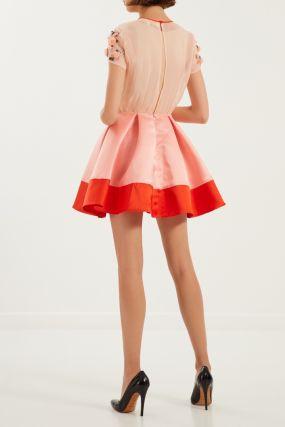 Комбинированное платье с цветочной аппликацией