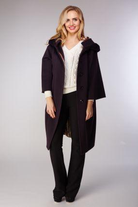 Женское шерстяное пальто-кокон с капюшоном