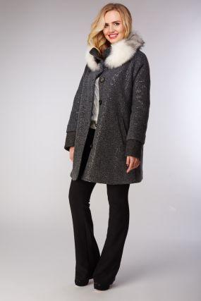 Молодежное женское пальто с меховым воротником из лисы