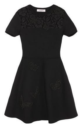 Платье с кружевной вставкой и вышивкой в виде бабочек Valentino