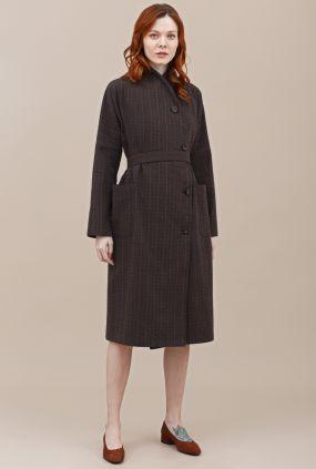Жакет-халат Черешня коричневый в полоску с запахом (40-46)