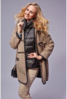 Модный женский дафлкот с капюшоном