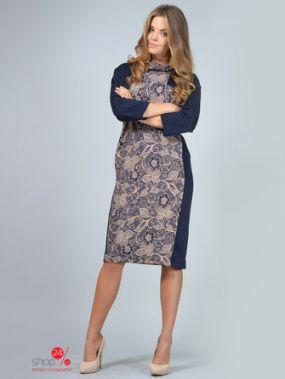 Платье LILA KASS, цвет темно-синий, бежевый