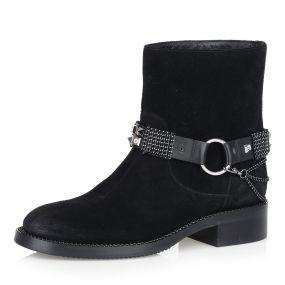 Черные ботинки на натуральном меху