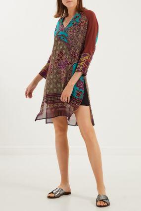Шелковое платье с принтом