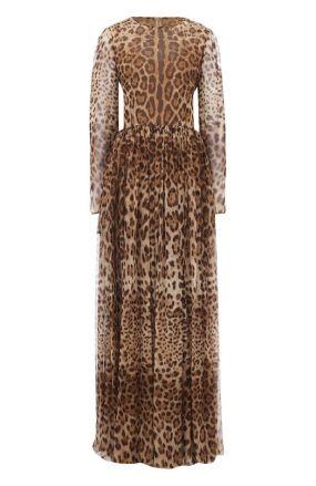 Шелковое платье-макси с леопардовым принтом Dolce & Gabbana