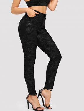 Еожаные камуфляжные обтягивающие брюки