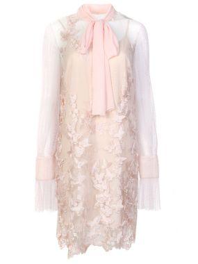 Платье с кружевом и сеткой