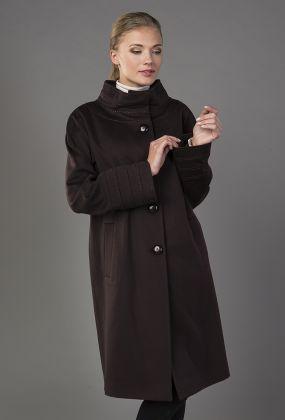 Пальто прямого кроя с широким воротником-воронкой