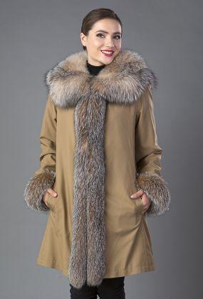 Зимнее пальто трапеция на меху кролика