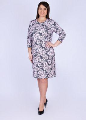Платье трикотажное Глория (серо-розовое)