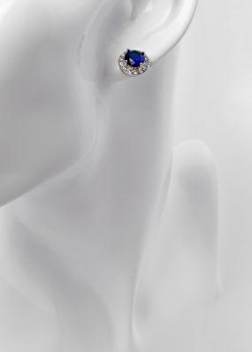 Серьги-гвоздики с синим камнем 1016-10