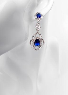 Серьги с синими кристаллами 0165-10