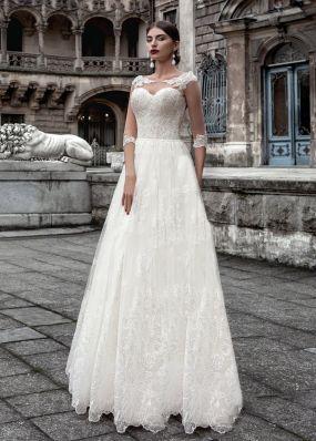 Кружевное свадебное платье с рукавами SOL015