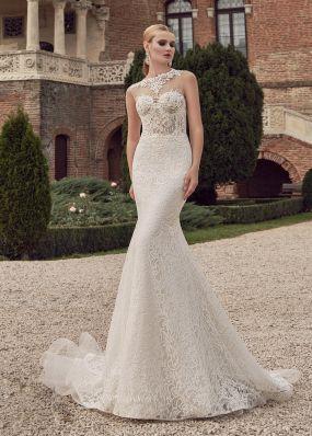 Свадебное платье силуэта рыбка из кружева SOL010