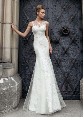 Свадебное платье силуэта русалка с вышивкой кружевом SOL014