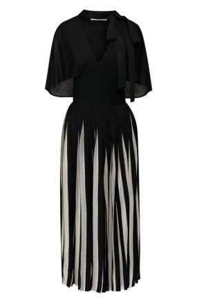 Платье из вискозы с воротником аскот Valentino