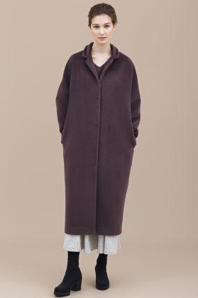 Пальто Черешня шерстяное объемный кокон сиреневый (38-42)