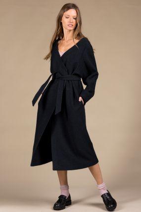 Платье-кардиган Черешня из вареной шерсти с открытыми плечами на запахе синее (42-46)